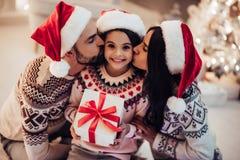 在新年` s伊芙的家庭 免版税库存图片