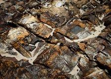 在新月形海滩的岩石 库存照片