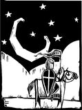 在新月形骑士月亮之下 免版税库存图片