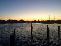 在新泽西海湾的日出 库存图片