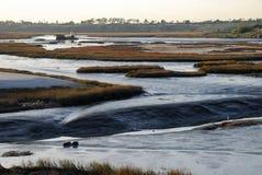 在新港海滨(加利福尼亚)回到海湾的低潮或沼泽地或者出海口 库存图片