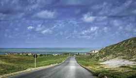 在新生附近的热带海滩路,巴西 免版税库存照片