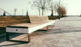 在新的大道的长凳在巴库 免版税库存照片