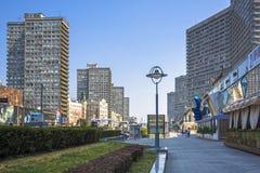 在新的阿尔巴特街的大厦在莫斯科 库存图片