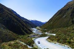 在新西兰的南岛的Campervan 库存图片
