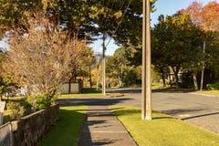 在新西兰街的秋天日落 免版税库存照片