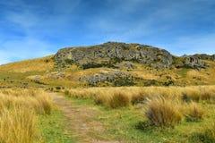 在新西兰登上星期天,魔戒电影Edoras场面的摄制地点, 免版税库存照片