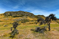 在新西兰登上星期天,魔戒电影Edoras场面的摄制地点, 库存照片