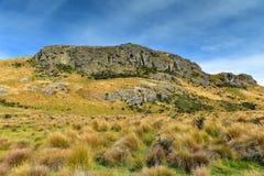 在新西兰登上星期天,魔戒电影Edoras场面的摄制地点 图库摄影