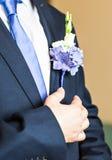 在新郎特写镜头服装的美妙的婚礼钮扣眼上插的花  库存照片