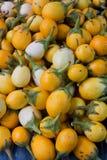 在新鲜市场上卖的黄色蕃茄 免版税库存照片