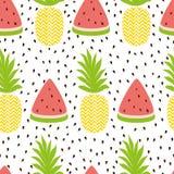 在新鲜水果夏天颜色的菠萝西瓜简单的无缝的背景 免版税图库摄影