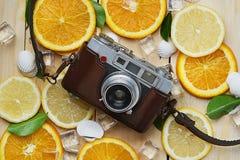 在新鲜的橙色柠檬海壳叶子立方体之间的葡萄酒照相机 免版税图库摄影
