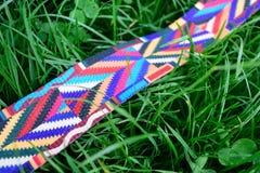 在新鲜的绿草的五颜六色的皮带 免版税库存照片