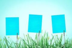 在新鲜的绿草的银色名片持有人与drople 免版税库存图片