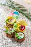 在新鲜水果的异乎寻常的饮料与鸡尾酒伞 图库摄影