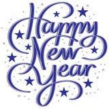 在新年好上写字的手 免版税库存照片