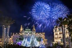 在新年庆祝期间的蒙地卡罗赌博娱乐场 库存图片