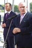 在新闻招待会期间的Andrzej Duda和1月Guz在卡托维兹 免版税库存图片