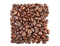 在方形的形状的咖啡豆 免版税图库摄影