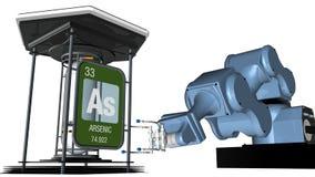 在方形的形状的砷标志与在将拿着一个化工容器的机械臂前面的金属边缘 3d回报 皇族释放例证