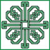 在方形的恋人的凯尔特不尽的结有在瓦片形状的心脏元素的在黑和绿色发怒针 库存例证