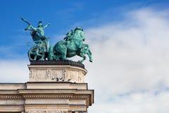 在方形的英雄的千年纪念碑。 布达佩斯,匈牙利 图库摄影