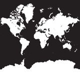 在方形的黑色的世界地图剪影 免版税库存照片