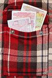 在方格的夹克口袋的保加利亚列弗 免版税库存图片