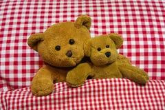 在方格的床上的两个棕色玩具熊。 免版税库存照片