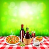 在方格的桌布桌和绿色背景上的意大利食物 库存照片
