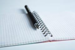 在方格的纸笔记本的笔 免版税库存图片