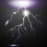 在方格的背景的现实闪电 对一透明backgroun的明亮,电和不可思议的作用 库存例证