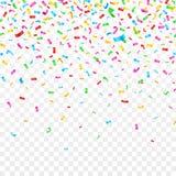 在方格的背景的落的五彩纸屑 庆祝党假日装饰 库存例证