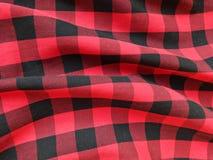 在方格黑和的红色的棉织物 免版税图库摄影