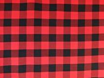 在方格黑和的红色的棉织物 免版税库存图片