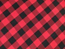 在方格黑和的红色的棉织物 库存照片