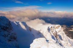 在施内山顶部的Kaiserberg峰顶 免版税库存照片