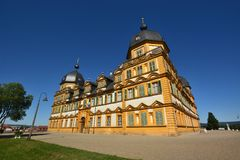 在施洛斯塞霍夫城堡塞霍夫的看法在琥珀,德国附近 免版税库存图片
