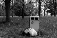 在旁边垃圾垃圾箱 免版税库存图片