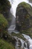 在旁边峡谷岩石流瀑布 免版税图库摄影