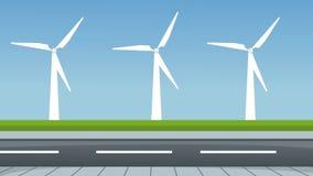 在旁边高速公路HD动画的风轮机 库存例证