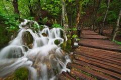 在旅游道路附近的小瀑布在Plitvice湖国家公园 免版税库存照片