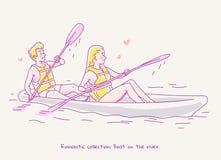 在旅行在河的一条小船的爱的年轻夫妇 线例证 库存图片