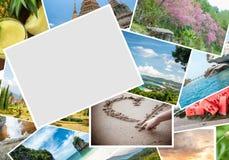 在旅行的空白的明信片 免版税库存照片