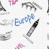 在旅行题材的无缝的样式在欧洲 皇族释放例证