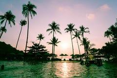 在旅馆手段的美丽的豪华游泳池与剪影u 库存照片