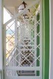 在旅馆的底层上的阳台在Kranevo,保加利亚 库存照片