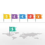 在旗子标志的欧洲美元日元元Bitcoin卢布磅主流货币符号在世界地图 库存图片