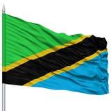 在旗杆的坦桑尼亚旗子 图库摄影